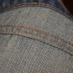 Inside of a denim flat-fell stitch