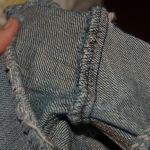 Inside of a simple denim seam