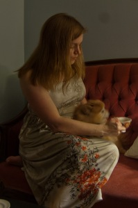 Staying with the tea theme, but self-taken this time for a closer dress view. Plus Simba. Who thinks he's a dragon.
