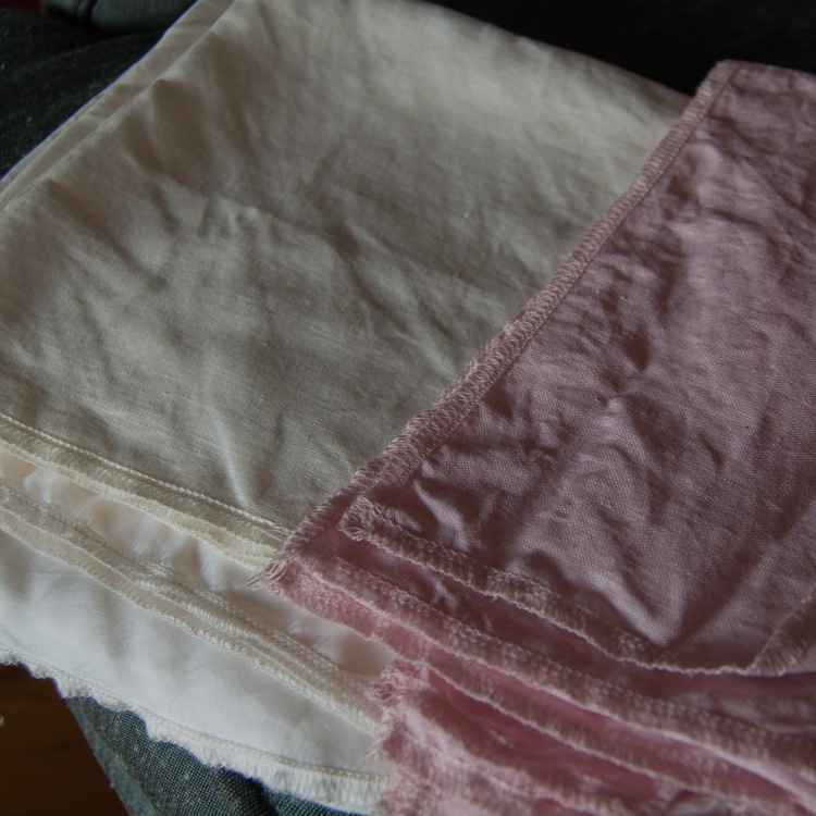 The original linen on the left, the dyed linen on the right. Subtle but you can see it.