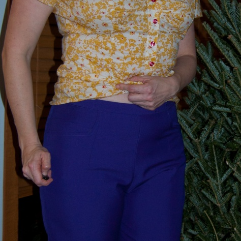 Of course I'd wear it with a yellow top. Why else would you make a purple-blue suit?