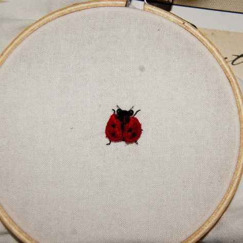"In a 4"" embroidery hoop, to give you a sense of scale."