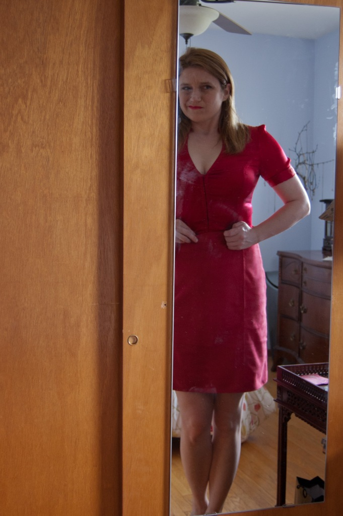"""This series titled """"what am I going to wear with this skirt?"""" Thought one: stretch red silk blouse, bought 8 years ago. Conclusion one: Oh, I gained some weight. It doesn't really fit anymore."""