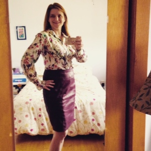 Day five: Vogue leather skirt, and Vogue cotton-silk voile underlined shirt. Now that's a mouthful.