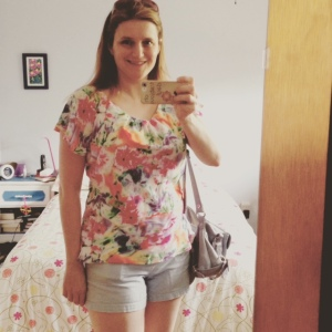 Day 10: that Vogue shirt again! RTW shorts. Frances and I were off to a movie (the Avengers) to celebrate Mothers Day.