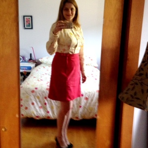 Day 12: Vogue shirt in Nani Iro double gauze and the self-drafted suede skirt.