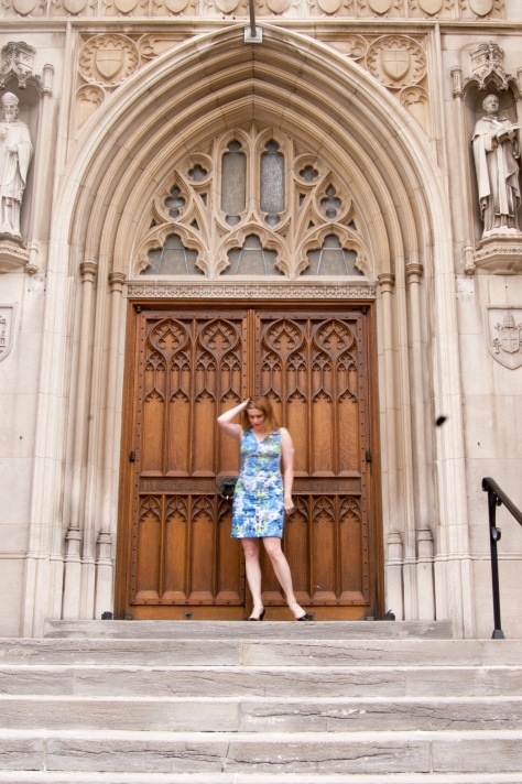Perfect place to take outside pictures in public with a good back-drop and no observers: a church on Saturday night!