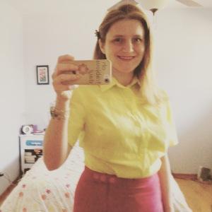 Yellow/citron silk-cotton voile blouse, Vogue again