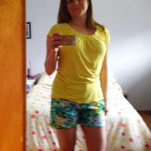 Yellow Butterick t-shirt again, with new Style Arc Jasmine shorts--mostly blue, but some yellow too.