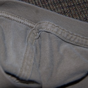 Inside of a casual shirt--straight stitch