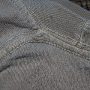 Outside of a casual shirt--chain stitch. This means that the outside of the shirt was facing down.