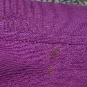 Outside of the dressy t-shirt. Itty bitty wobblies, also straight stitches, not chains.