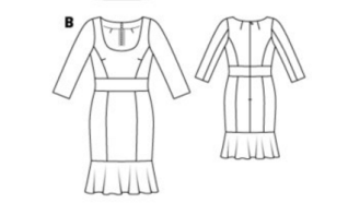 flounce dress line drawing